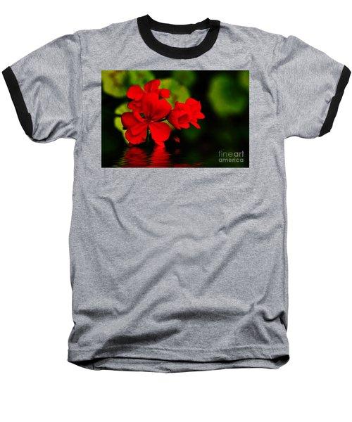 Red Geranium On Water Baseball T-Shirt