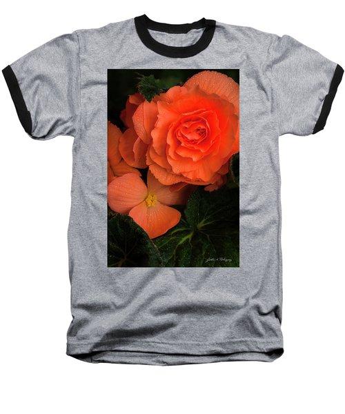 Red Giant Begonia Ruffle Form Baseball T-Shirt