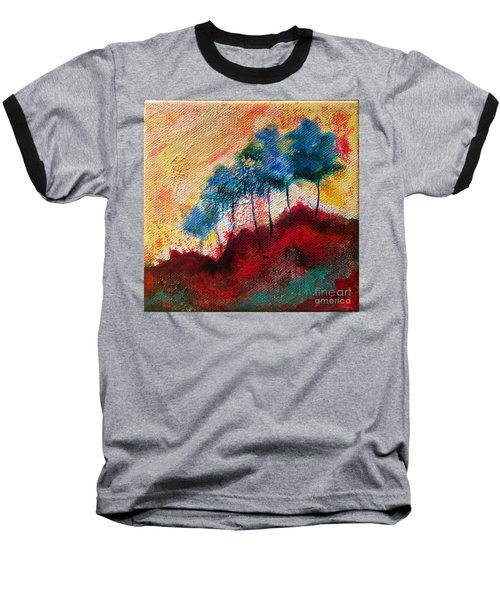 Baseball T-Shirt featuring the painting Red Glade by Elizabeth Fontaine-Barr