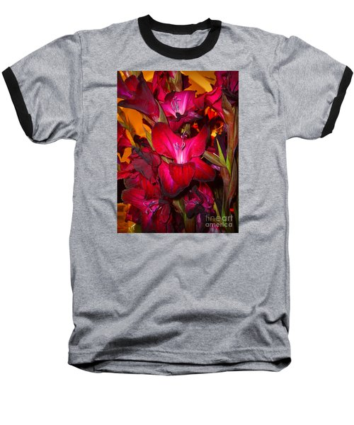 Red Gladiolus Macro Photograph Baseball T-Shirt by Merton Allen