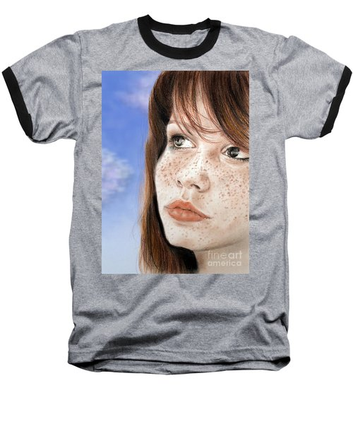 Red Hair And Freckled Beauty Version II Baseball T-Shirt by Jim Fitzpatrick