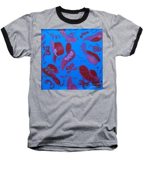 Red Hat Floor Cloth Baseball T-Shirt by Judith Espinoza