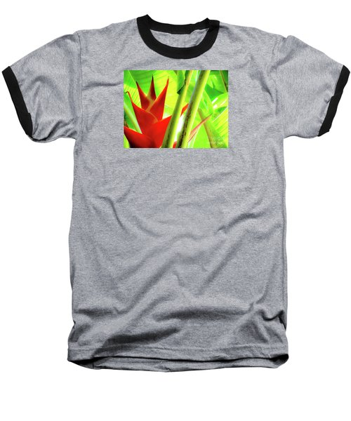 Red Heliconia Baseball T-Shirt