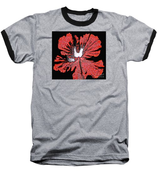Red Hibiscus Flower In Three Dimensions Baseball T-Shirt by Merton Allen