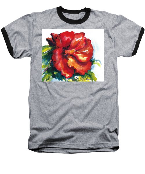 Fireball Red Hibiscus Baseball T-Shirt