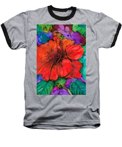 Baseball T-Shirt featuring the painting Red Hibiscus by Val Stokes