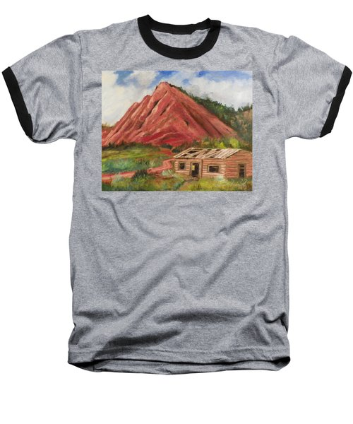 Baseball T-Shirt featuring the painting Red Hill And Cabin by Sherril Porter