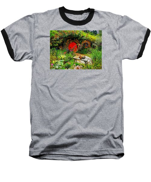 Red Hobbit Door Baseball T-Shirt by Kathy Kelly