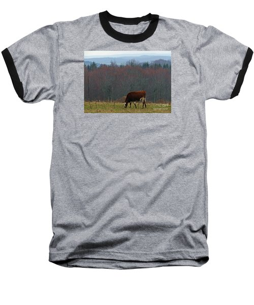 Baseball T-Shirt featuring the photograph Red Holstein Of The Hills by Christian Mattison