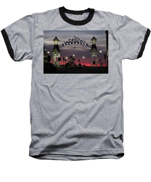 Red Horizon Thru The Boardwalk Arch Baseball T-Shirt
