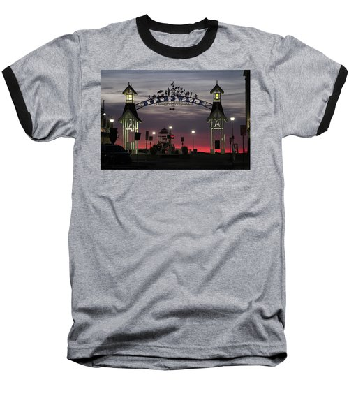 Red Horizon Thru The Boardwalk Arch Baseball T-Shirt
