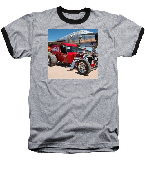 Red Hot Rod Next To Vintage Airplane  Baseball T-Shirt