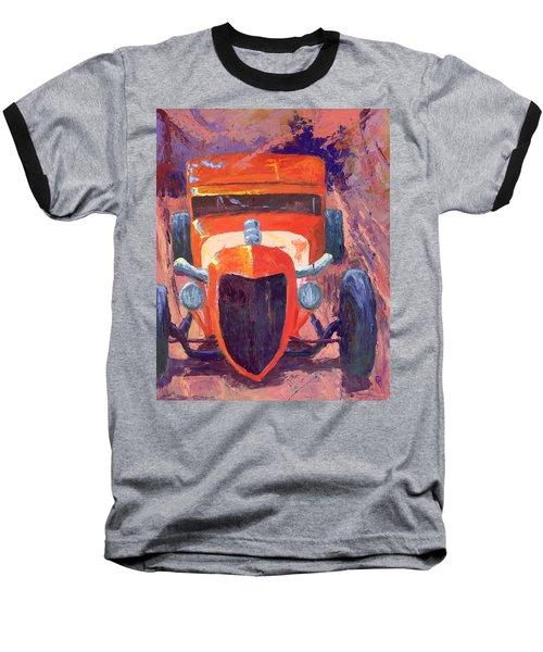 Red Hot Rod Sedan Baseball T-Shirt