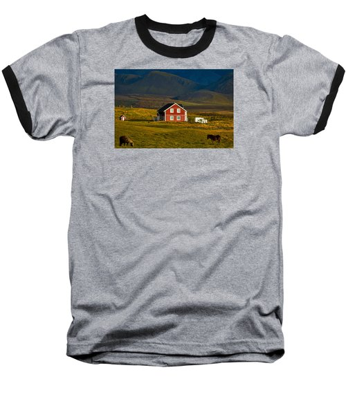 Red House And Horses - Iceland Baseball T-Shirt by Stuart Litoff