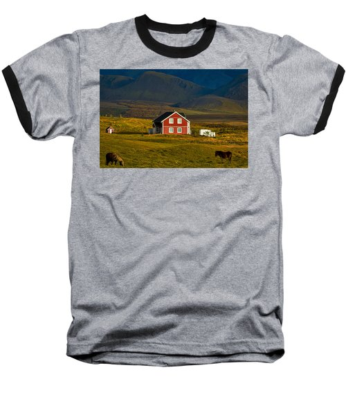 Red House And Horses - Iceland Baseball T-Shirt