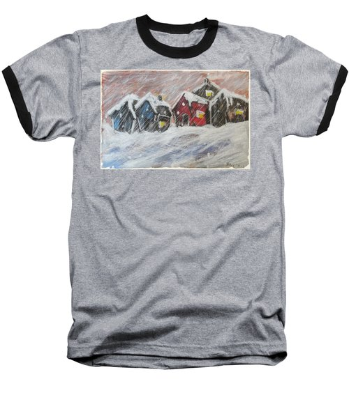 Red House In The Snow Baseball T-Shirt