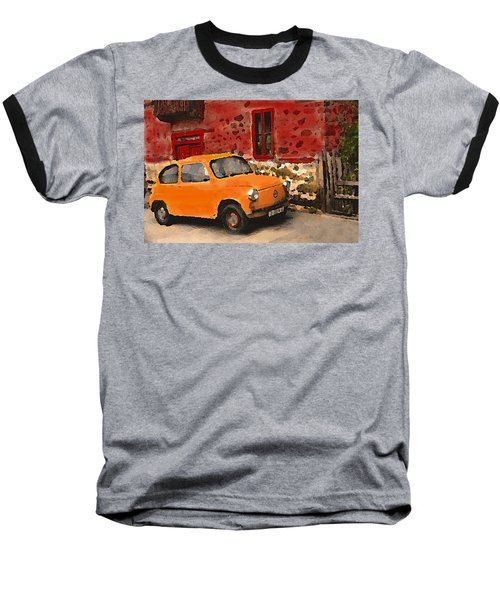 Red House With Orange Car Baseball T-Shirt