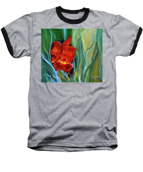 Red Jungle Orchid Baseball T-Shirt