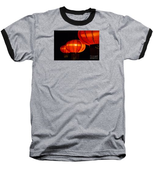 Red Lanterns Baseball T-Shirt by Rebecca Davis