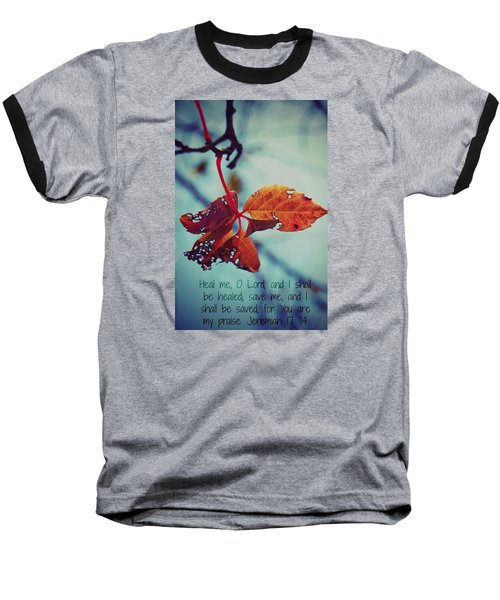 Baseball T-Shirt featuring the photograph Red Leaf by Artists With Autism Inc
