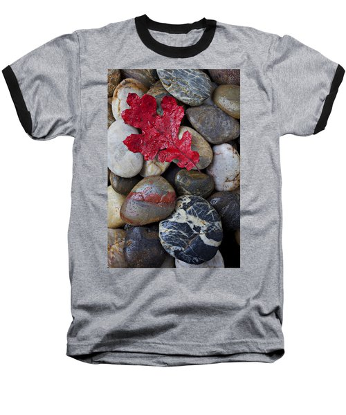 Red Leaf Wet Stones Baseball T-Shirt