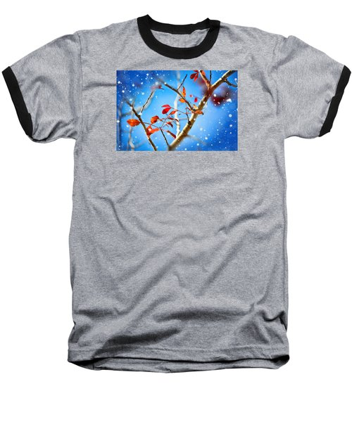 Red Leaves On Blue Background Baseball T-Shirt