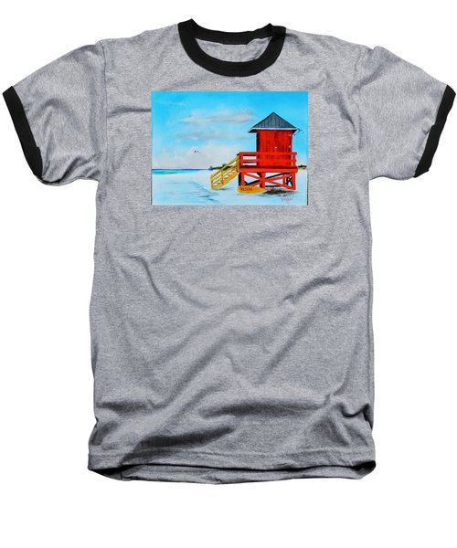 Red Life Guard Shack On The Key Baseball T-Shirt by Lloyd Dobson