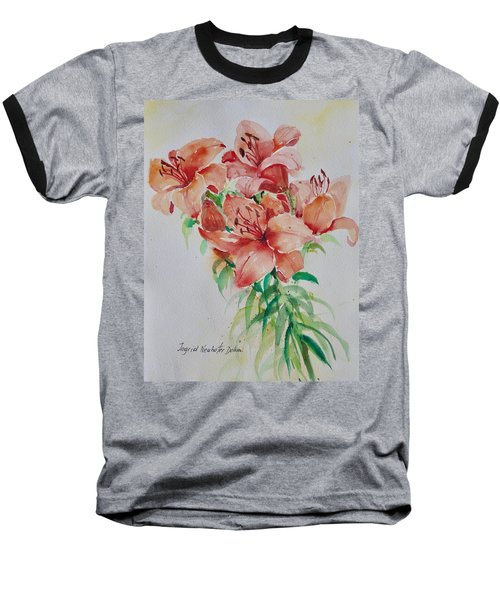 Red Lilies Baseball T-Shirt by Alexandra Maria Ethlyn Cheshire