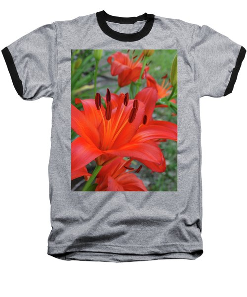 Red Lilies Baseball T-Shirt by Rebecca Overton