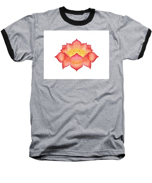 Baseball T-Shirt featuring the painting Red Lotus by Elizabeth Lock
