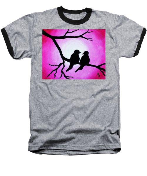 Red Love Birds Silhouette Baseball T-Shirt