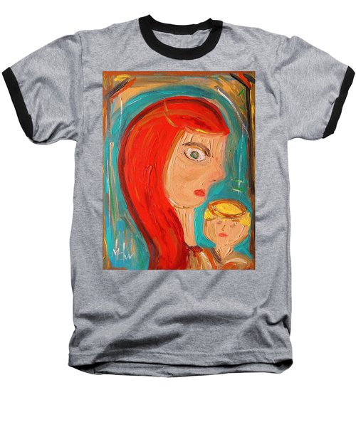 Baseball T-Shirt featuring the painting Red Madonna by Mary Carol Williams