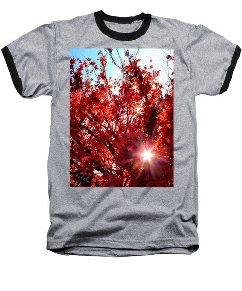 Red Maple Burst Baseball T-Shirt by Wendy McKennon