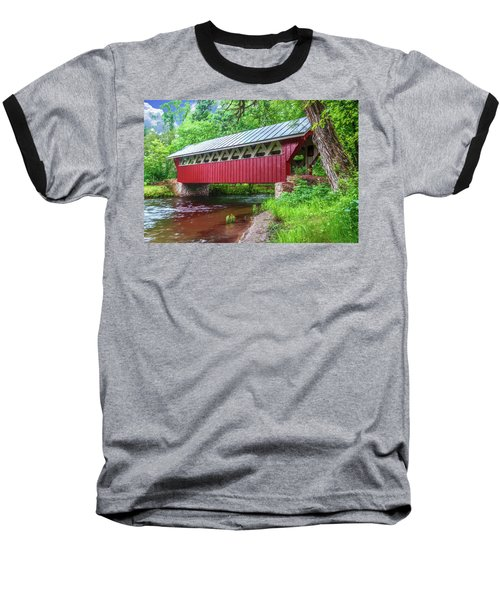 Red Mill Covered Bridge Baseball T-Shirt by Trey Foerster