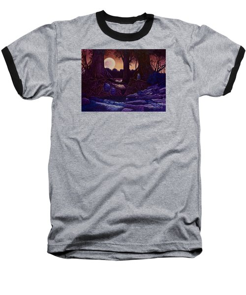 Baseball T-Shirt featuring the painting Red Moon by Michael Frank