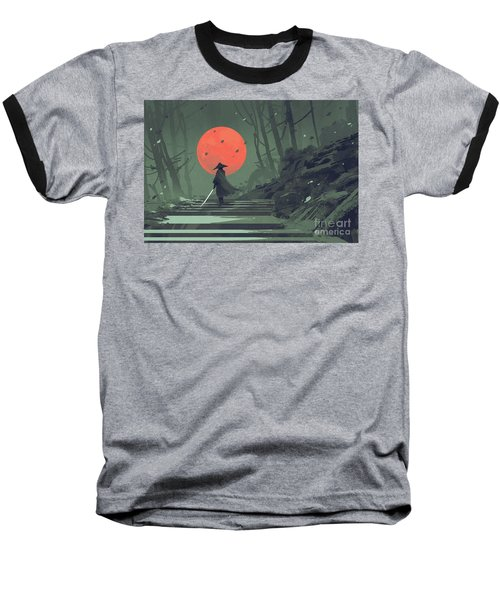 Red Moon Night Baseball T-Shirt