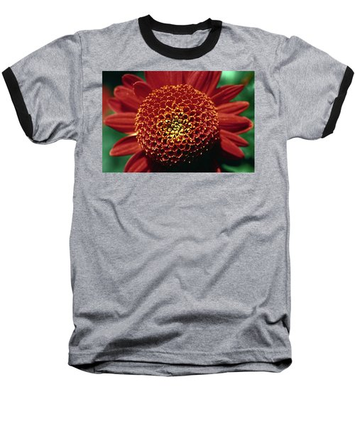 Baseball T-Shirt featuring the photograph Red Mum Center by Sally Weigand
