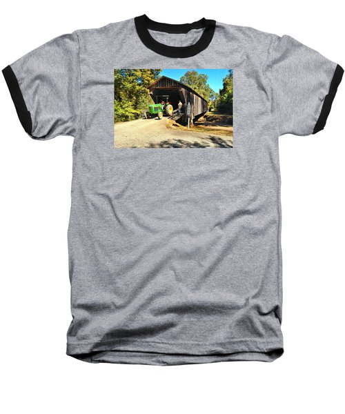 Red Oak Creek Covered Bridge And Tractor Baseball T-Shirt by James Potts