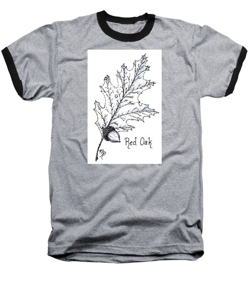 Red Oak Leaf And Acorn Baseball T-Shirt