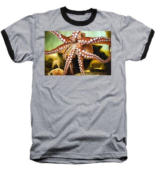 Red Octopus Baseball T-Shirt