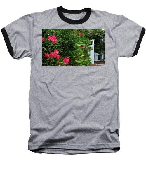 Baseball T-Shirt featuring the photograph Red Oleander Arbor by Marie Hicks