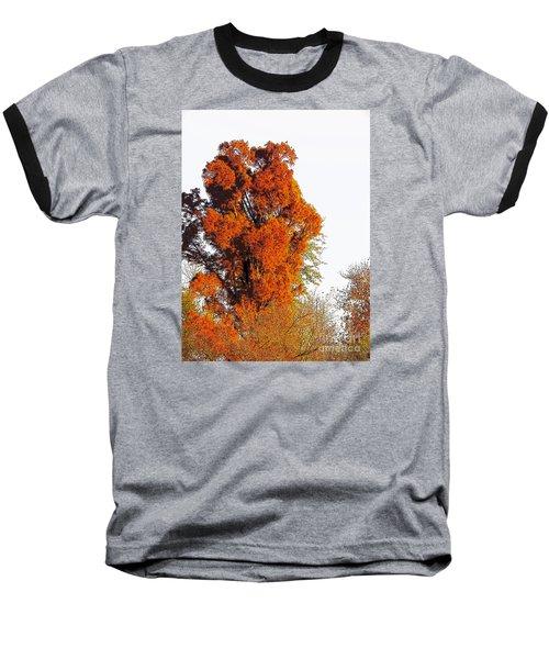 Red-orange Fall Tree Baseball T-Shirt