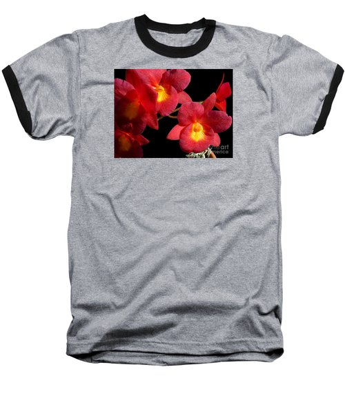 Red Orchids Baseball T-Shirt by Merton Allen