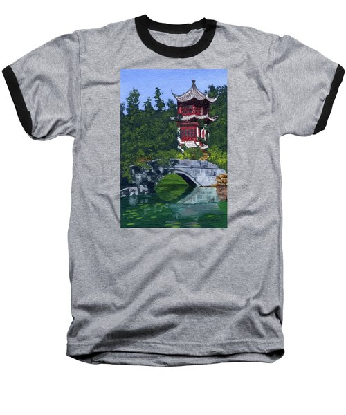 Baseball T-Shirt featuring the painting Red Pagoda by Lynne Reichhart