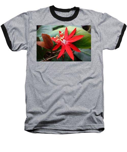 Red Passion Flower Baseball T-Shirt