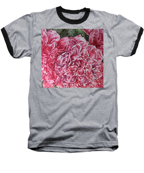 Red Peonies Baseball T-Shirt