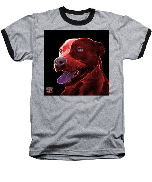 Red Pit Bull Fractal Pop Art - 7773 - F - Bb Baseball T-Shirt
