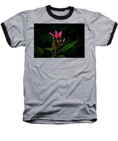 Red Plumeria Baseball T-Shirt