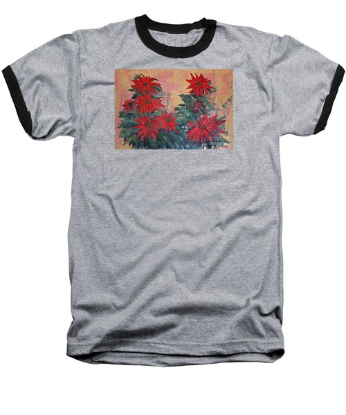 Red Poinsettias By George Wood Baseball T-Shirt