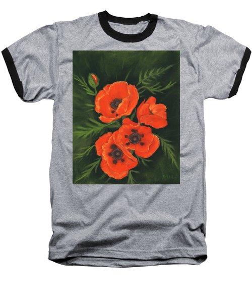 Baseball T-Shirt featuring the painting Red Poppies by Anastasiya Malakhova